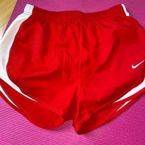 Nike red running shorts